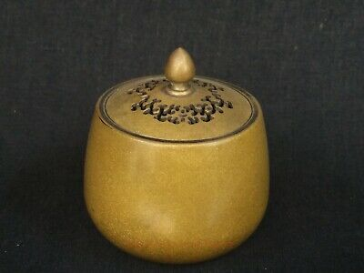 Collect Old China Copper Carved Delicate Incense Burner Storage Tank Decoration