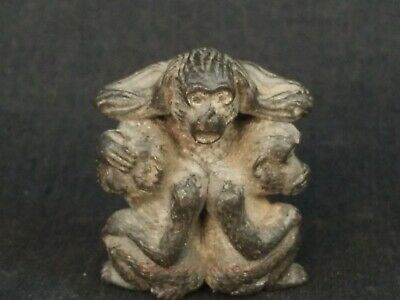 Superb Collection Ancient China Bronze Carved 3 Monkey Paperweight Decoration