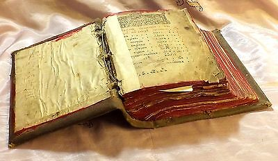 Rare C. 1650 Russian Orthodox Church Holy Prayer Book ~Beautiful Antique Text~