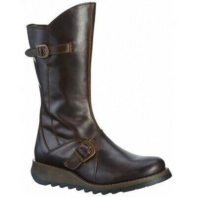 Fly London MES 2 Ladies Womens Genuine Leather Buckle Mid Calf Boots Dark Brown