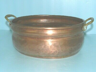 STUNNING Antique? Solid Copper & Brass Oval bowl Pot~Planter Hand Hammered