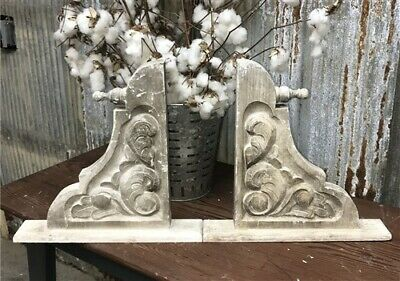 Carved Farmhouse Corbels Scroll Leaves, Wood Corbel Brackets, Handmade Corbels