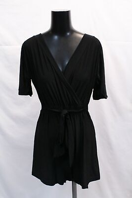 boohoo Women's Maternity Slinky Tie Waist Wrap Playsuit SV3 Black US:8 UK:12 NWT