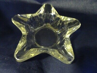 Heavy Crystal Clear Glass Vintage Star Shaped Cigarette Ashtray
