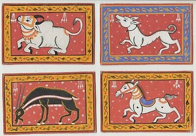 Hand made leather postcards from India group of 7 inc Elephants, cow, scarce