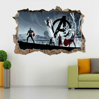 Avengers End Game 3D Smashed Wall Sticker Decal Art Mural Marvel Superhero J1418