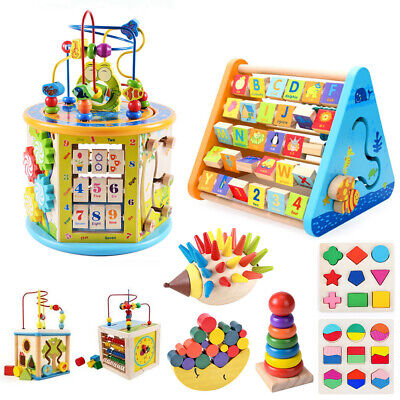 Wooden Activity Cube Kids Baby Bead Maze Montessori Toys Early Learning Puzzle