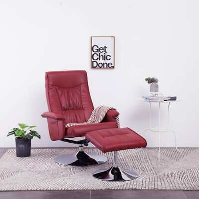 vidaXL Recliner Chair with Footstool Wine Red Faux Leather Lounge Armchair