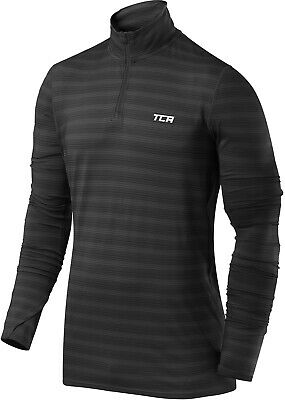 TCA Infinity Mens Running Top Black Half Zip Long Sleeve Jersey Stylish T-Shirt