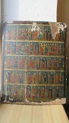 Ikone,Icona,Antique Russian Orthodox icon ,,Church Calendar,, from 19c.