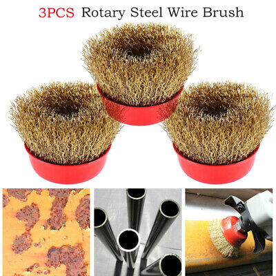 3 Pcs 65mm Rotary Brass Steel Wire Brush Crimp Cup Set wheel Angle Grinder M14