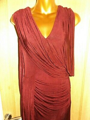 Stunning long plum draped evening party ballgown Phase Eight maxi dress size 12