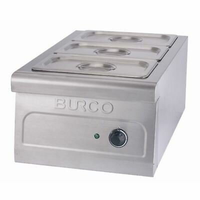 Burco Table Top Bain Marie Stainless Steel with Three 1/3 GN Pans 3 x 5Ltr