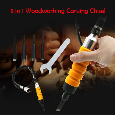 Electric Wood Carving Flexible Hand Chisel Tool Woodworking With 5 Chisels &Hose