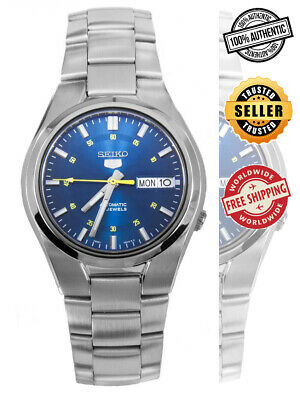 Seiko 5 Automatic SNK615 SNK615K1 Men Blue Dial Day Date Stainless Steel Watch