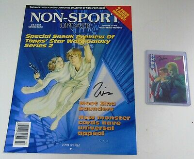 "ZINA SAUNDERS Autographed/Signed Magazine Cover & ""MARS ATTACKS""  Signed Card"