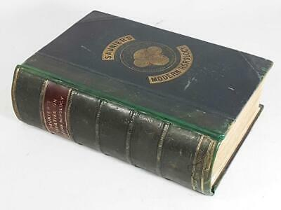 ANTIQUE CLOCK BOOK SUPERB LEATHER BOUND TREATISE ON MODERN HOROLOGY by SAUNIER