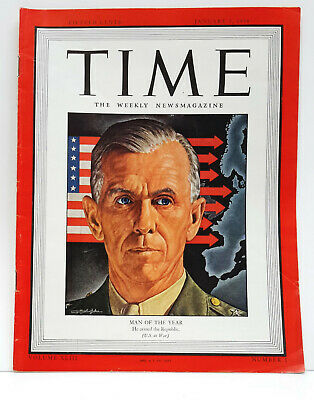 Jan 3,1944 TIME Magazine- Man of the Year General Marshall - WW2  on Cover- VG