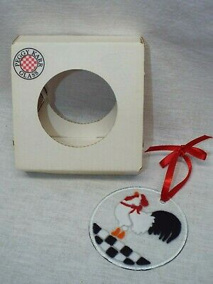 Peggy Karr Fused Glass Christmas Ornament Rooster New Signed In Box