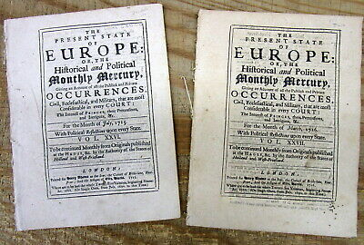 2 1715 & 1716 British newspapers w JACOBITE RISING of 15 - REBELLION in Scotland