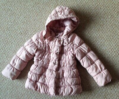 Girl's Next Pink Hooded Coat - Size 5-6 Years (Mint Condition)