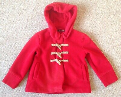 Girls Next Red Hooded Fleece Jacket /Duffle Coat - Size 6 Years (Mint Condition)