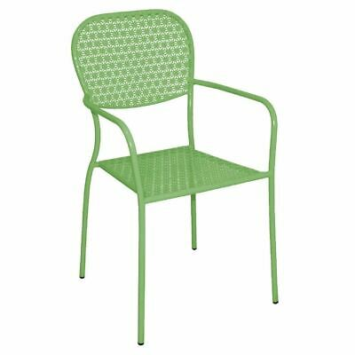 4 x Green Steel Patterned Bistro Armchairs Dining Cafe Stool Chair