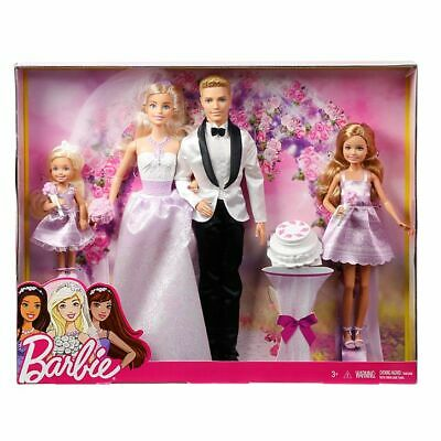 Barbie Dolls Wedding Set Ken Stacie Chelsea Figures Bride Groom Girls Playset