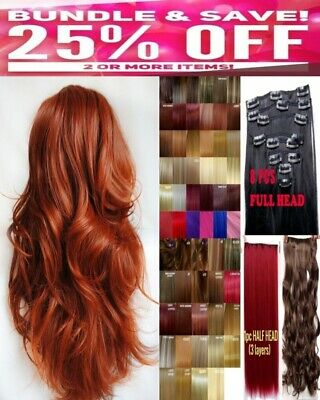 Clip in Hair Extension Human Feel Black Brown Ash Blonde Highlight Ginger copper