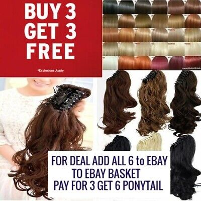 Claw Clip Ponytail Clip in Hair Piece Curly Wavy highlight blonde Browns Reds