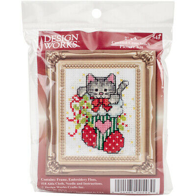 "Design Works Counted Cross Stitch Kit 2""X3""-Stocking Cat W/Frame Mini (18 Count)"