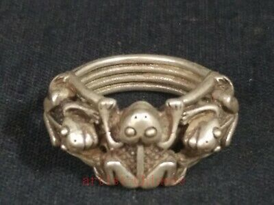 Unique Collection Old Chinese Tibet Silver Hand-made Frog Statue Ring Great Gift