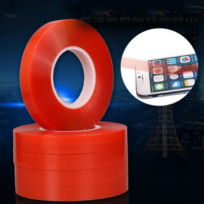 Double Sided Super Sticky Clear Tape Red Strong Craft DIY Roll 1 3 5 8 10mm 50M