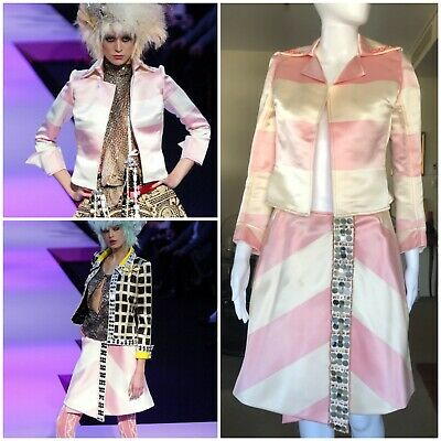 Christian Lacroix Haute Couture Spring 2003 jacket skirt pink white vintage