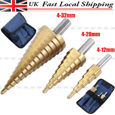 3X Large Golden Hss Step Cone Drill Titanium Bit Set Hole Cutter + Storage Pouch
