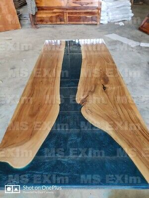 Epoxy Resin Blue Live edge Table Top 6x3 in 35mm thickness Acacia Wood all Size