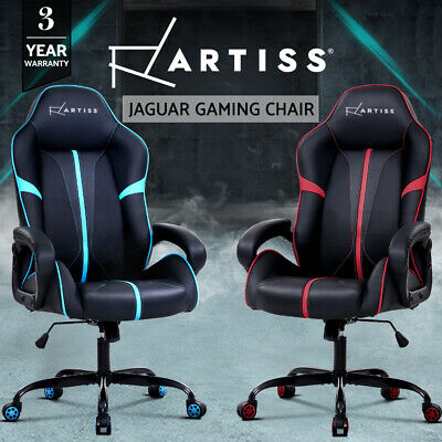 Artiss Gaming Office Chair Computer Chairs Leather Seat Racer Chair Black Blue