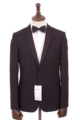 Men's Black Slim Fit Tuxedo Dinner Suit Limehaus 38R W32 L31