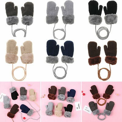 New 1-4 Years Old Cute Cartoon Baby Kids Gloves Winter Knit Wool Newborn Mittens