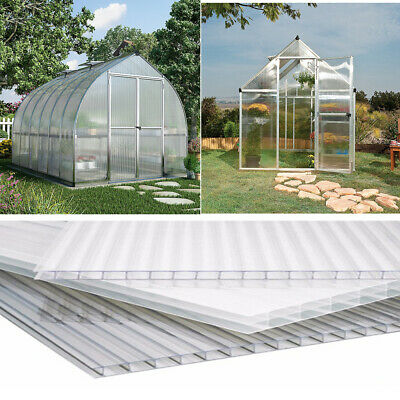 6x Greenhouse Panels 4mm Thick Polycarbonate Sheet Clear Glazing Twin Wall Panel