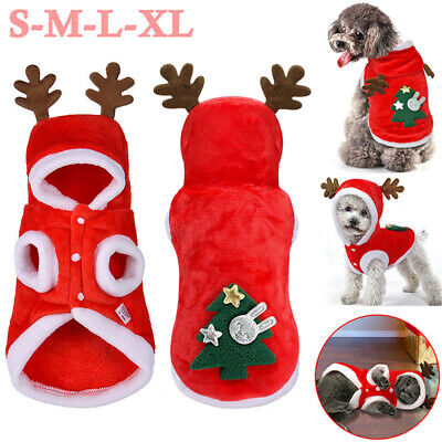 Pet Dog Cat Christmas Outfit Costumes Reindeer Hoodie Coat Xmas Dress Clothes UK