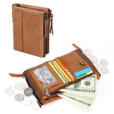 Mens Luxury Soft  Genuine Leather RFID Blocking Card Wallet Zip Cash Coin Pocket