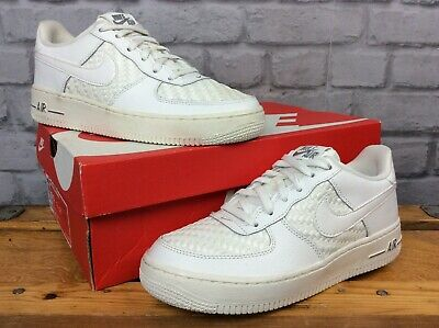 Nike Uk 5 Air Force 1 Low Lv8  White Leather Woven Trainers Ladies Childrens Lg