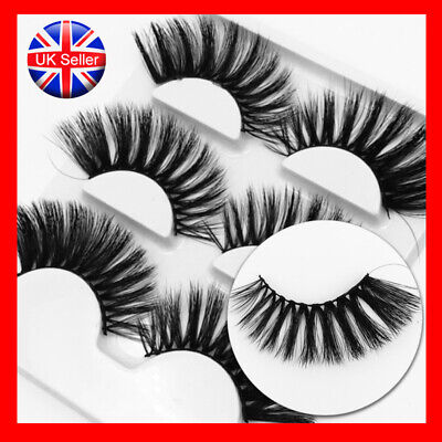 3Pairs 3D Mink False Eyelashes Lady Wispy Cross Long Thick Soft Fake Eye Lashes