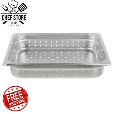 """Half Size 2 1/2"""" Deep Stainless Steel Perforated Steam Table Hotel Pans 24 Gauge"""
