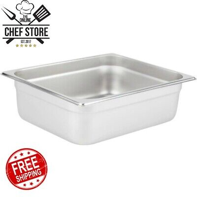 """1/2 Size 4"""" Deep Stainless Steel Steam Table Hotel Buffet Pan Rectangle Silver"""