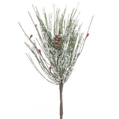 "Set of 5 Artificial 12"" Long Snowy Pine with Red Pip Berries"