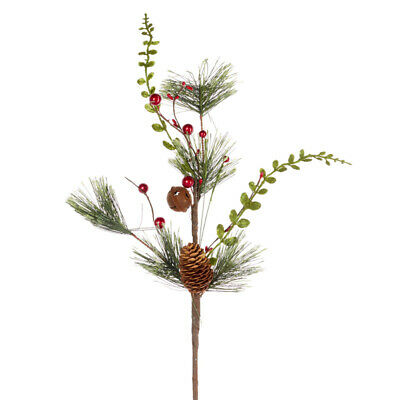 Factory Direct Craft Holiday Pine, Red Berry, and Pinecone Spray with Decorative