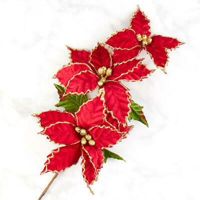 Factory Direct Craft Gold Glitter and Red Velvet Poinsettia Spray | for Holiday