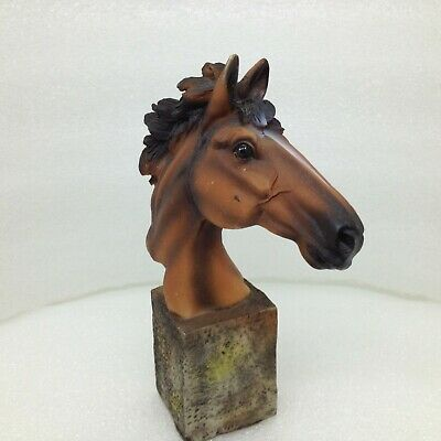 HORSE  Head on PEDESTAL FIGURINE Small 5.25 inch Statue Resin